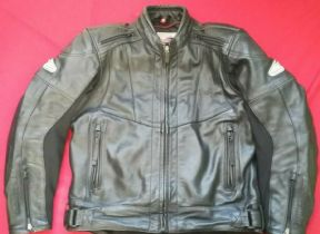 "HEIN GERICKE WATERPROOF LEATHER MOTORCYCLE JACKET UK 41"" 42"" CHEST  SIZE EU 52 L"
